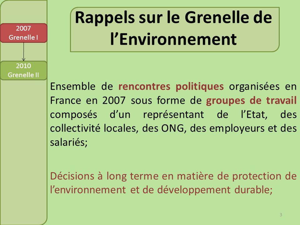Rappels sur le Grenelle de l'Environnement
