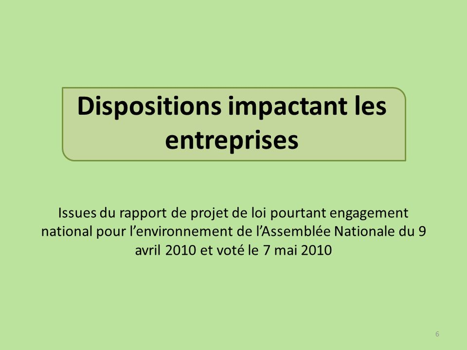 Dispositions impactant les entreprises