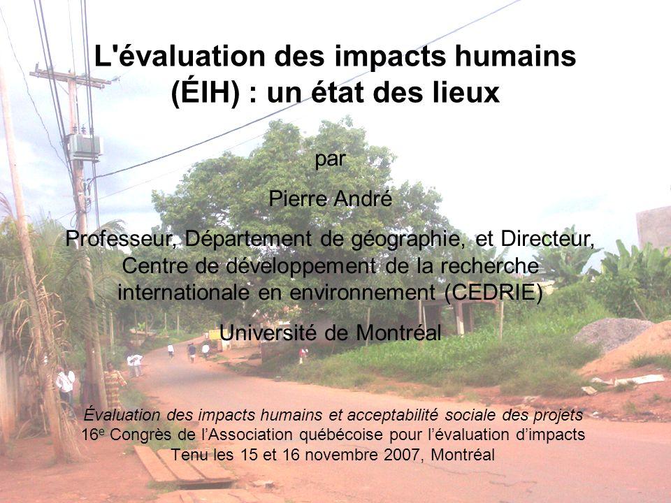 L évaluation des impacts humains (ÉIH) : un état des lieux