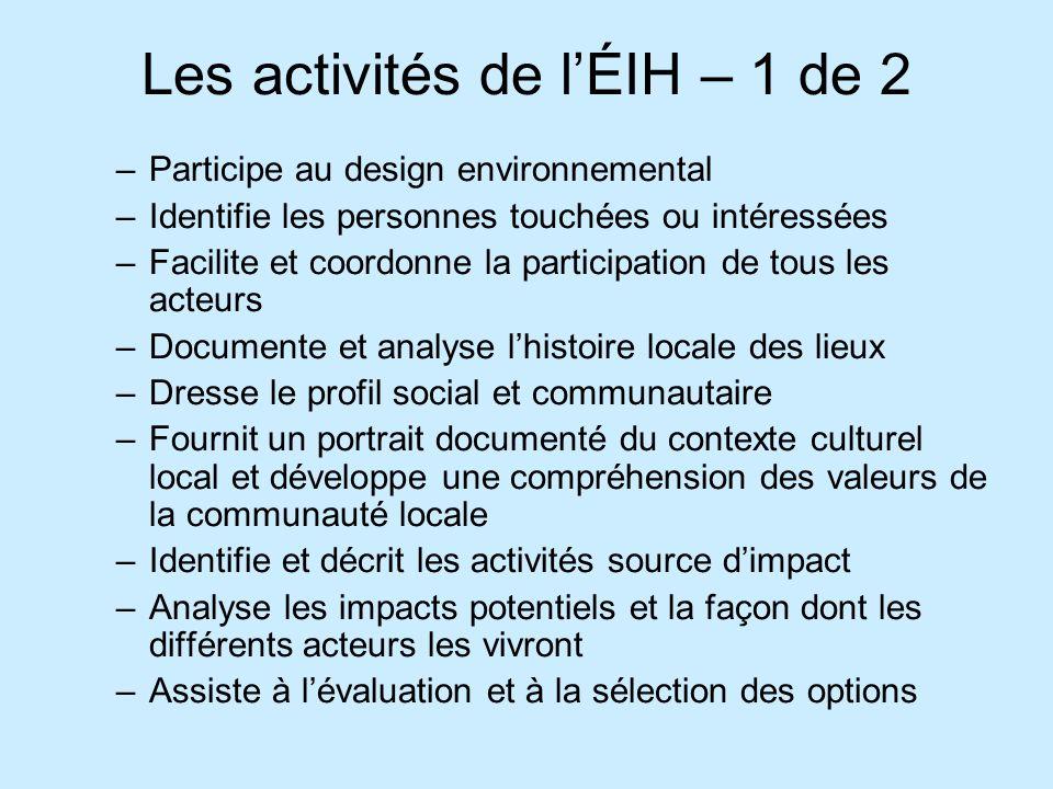Les activités de l'ÉIH – 1 de 2