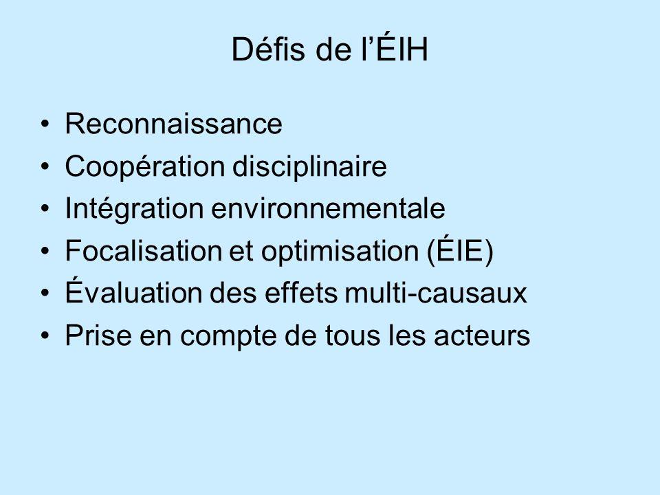 Défis de l'ÉIH Reconnaissance Coopération disciplinaire