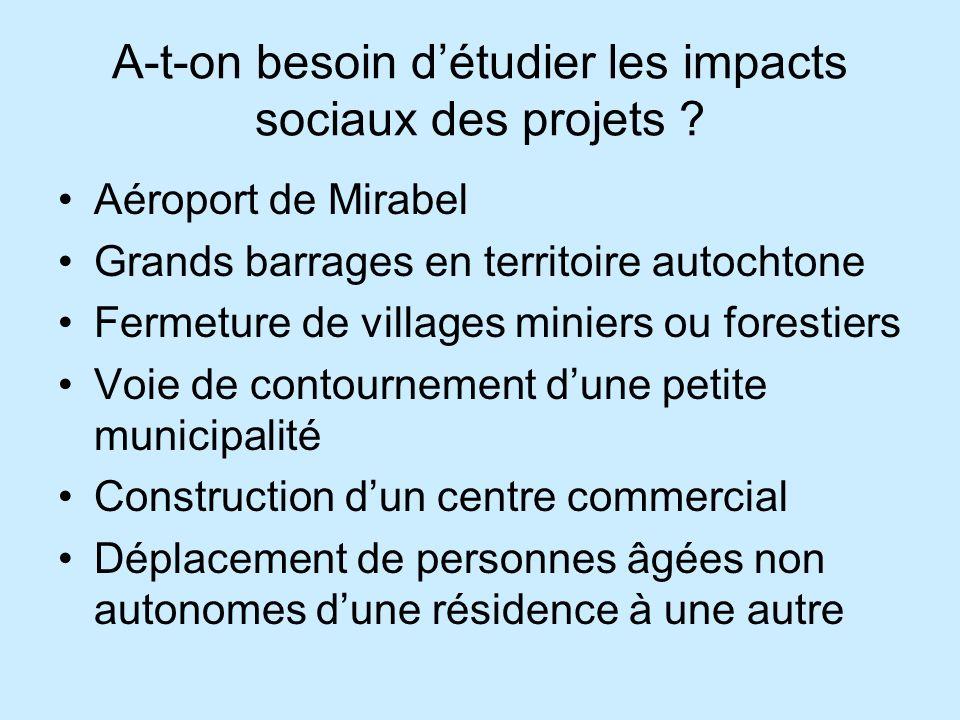 A-t-on besoin d'étudier les impacts sociaux des projets