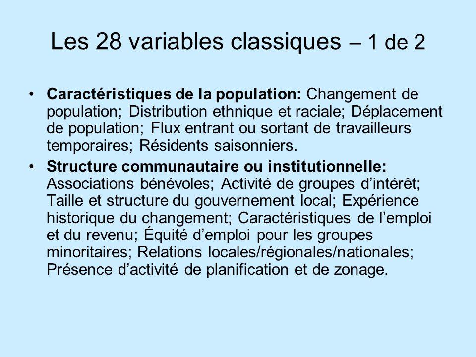 Les 28 variables classiques – 1 de 2