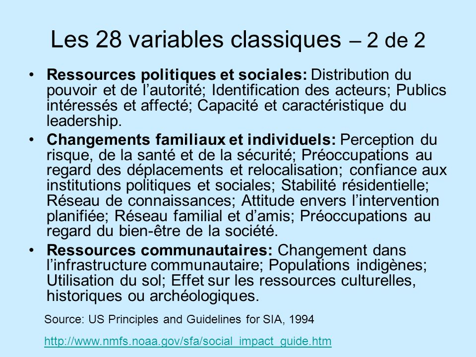 Les 28 variables classiques – 2 de 2