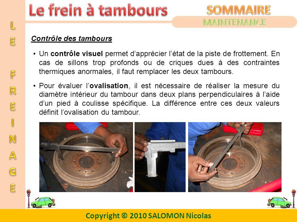 MAINTENANCE Contrôle des tambours