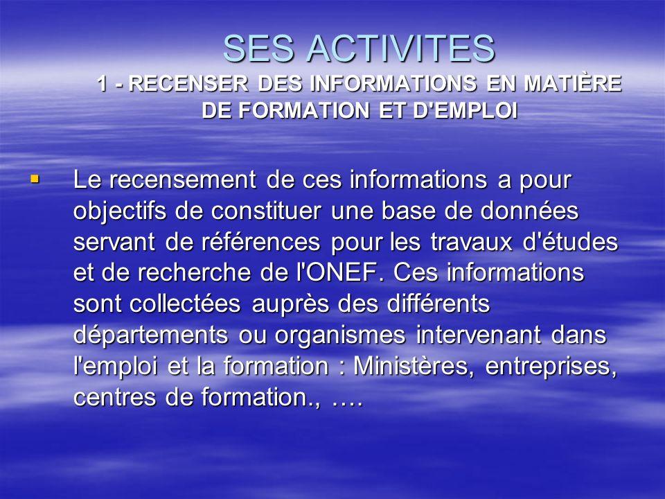 SES ACTIVITES 1 - RECENSER DES INFORMATIONS EN MATIÈRE DE FORMATION ET D EMPLOI
