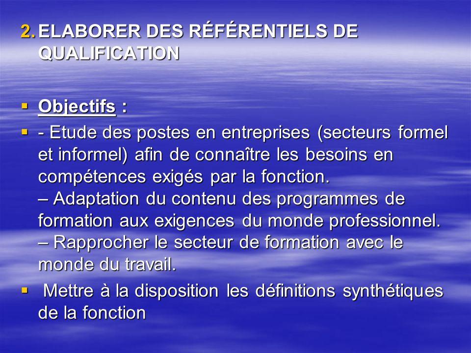 ELABORER DES RÉFÉRENTIELS DE QUALIFICATION