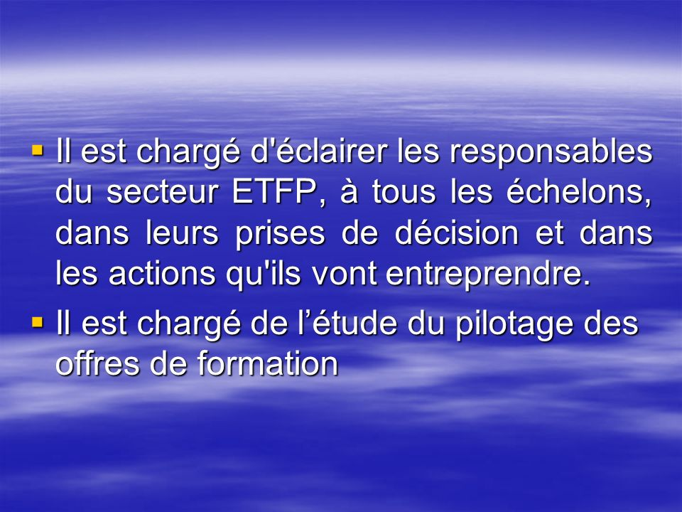 Il est chargé d éclairer les responsables du secteur ETFP, à tous les échelons, dans leurs prises de décision et dans les actions qu ils vont entreprendre.