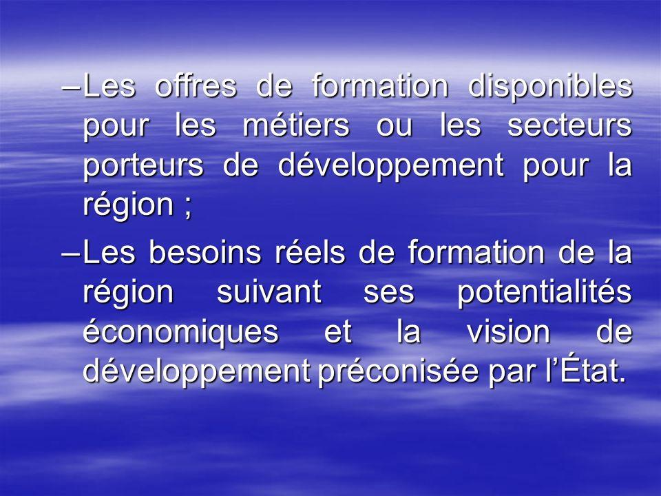 Les offres de formation disponibles pour les métiers ou les secteurs porteurs de développement pour la région ;