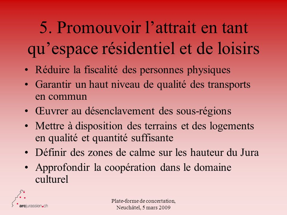 5. Promouvoir l'attrait en tant qu'espace résidentiel et de loisirs