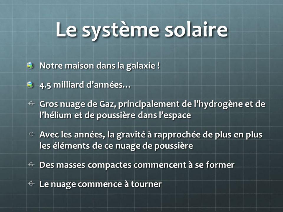 Le système solaire Notre maison dans la galaxie !