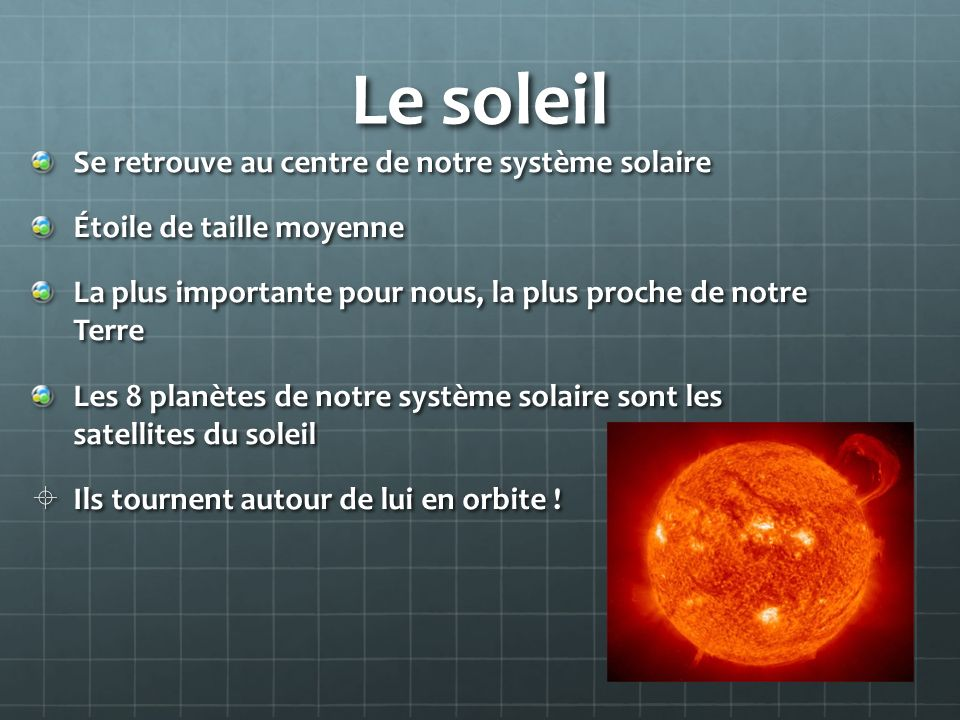 Le soleil Se retrouve au centre de notre système solaire