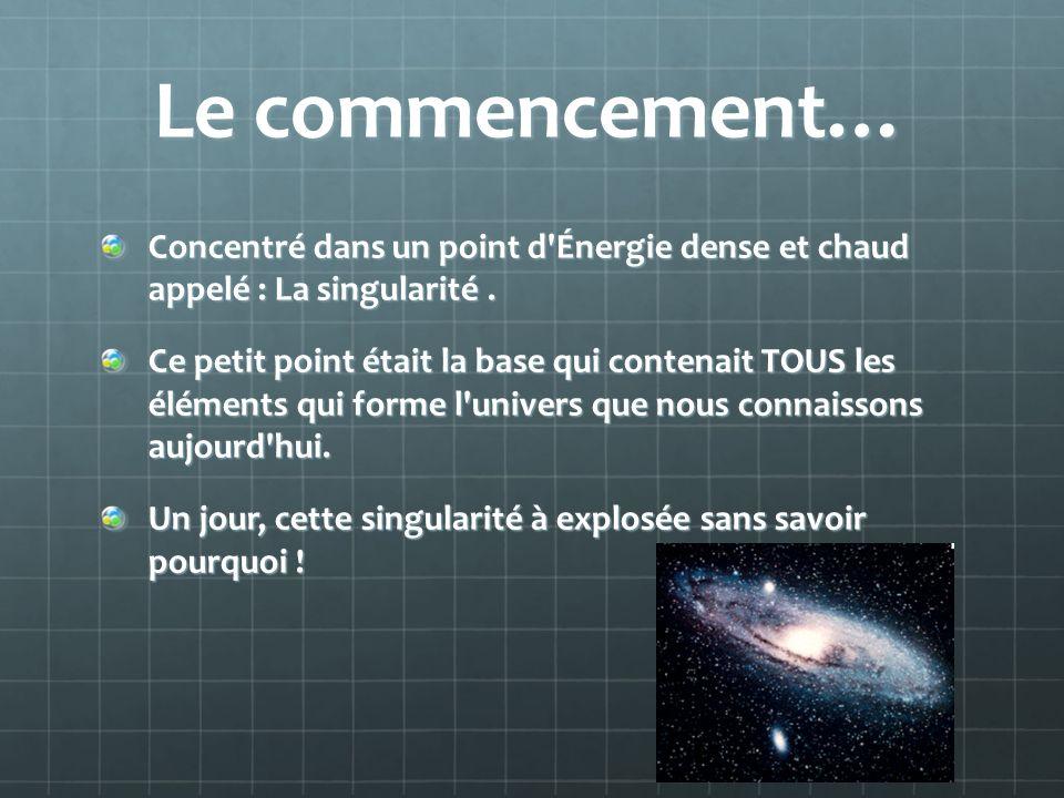 Le commencement… Concentré dans un point d Énergie dense et chaud appelé : La singularité .