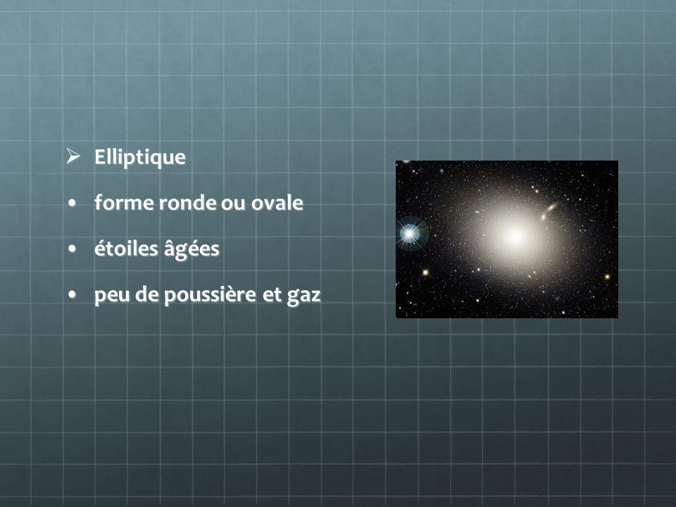 Elliptique forme ronde ou ovale étoiles âgées peu de poussière et gaz