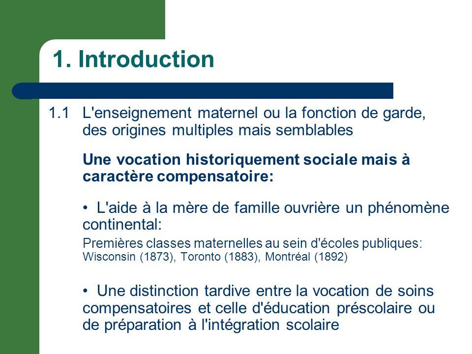 1. Introduction 1.1 L enseignement maternel ou la fonction de garde, des origines multiples mais semblables.