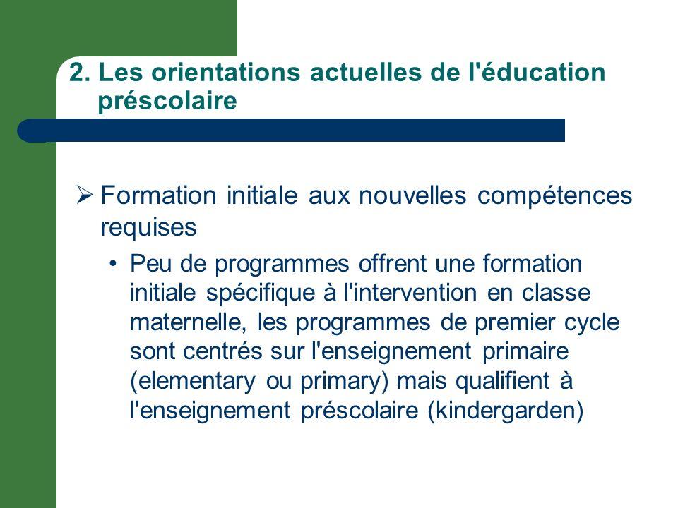 2. Les orientations actuelles de l éducation préscolaire