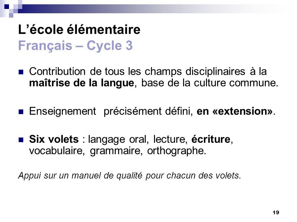 L'école élémentaire Français – Cycle 3