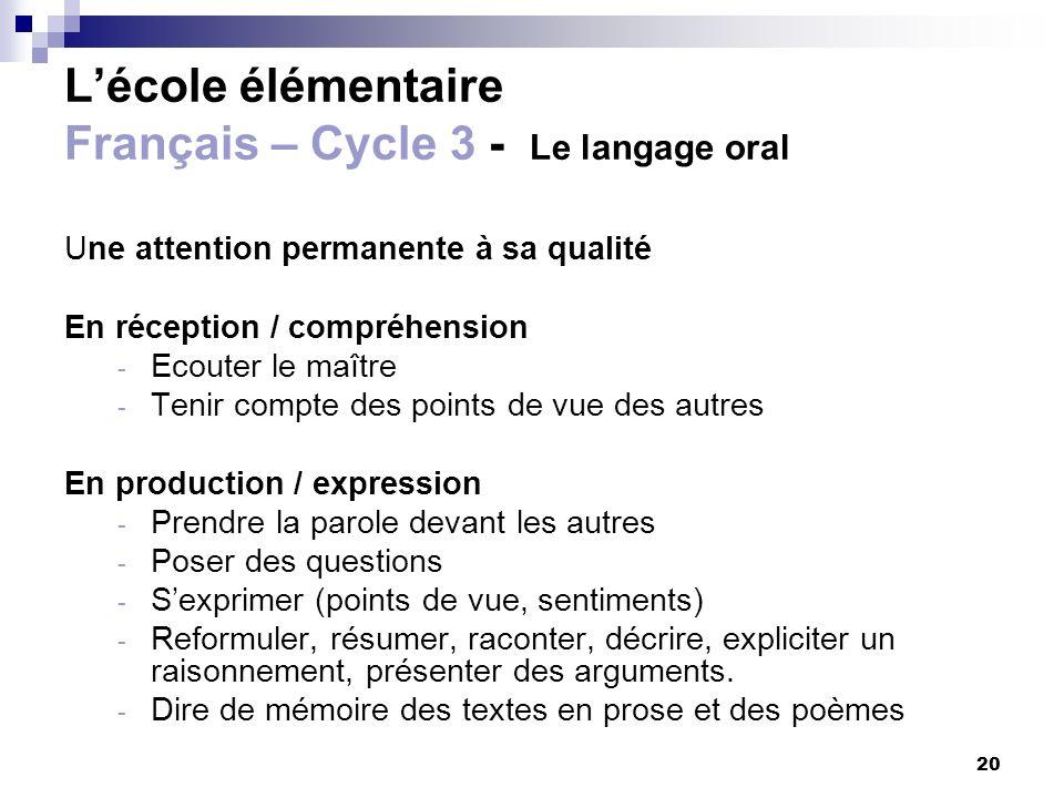 L'école élémentaire Français – Cycle 3 - Le langage oral