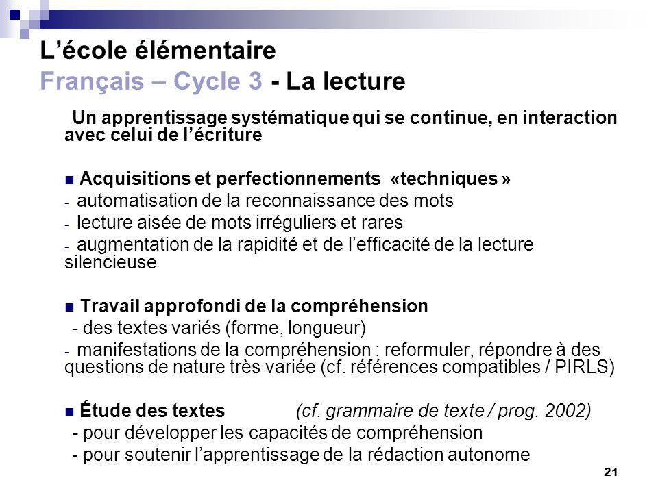 L'école élémentaire Français – Cycle 3 - La lecture