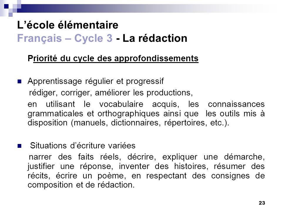 L'école élémentaire Français – Cycle 3 - La rédaction