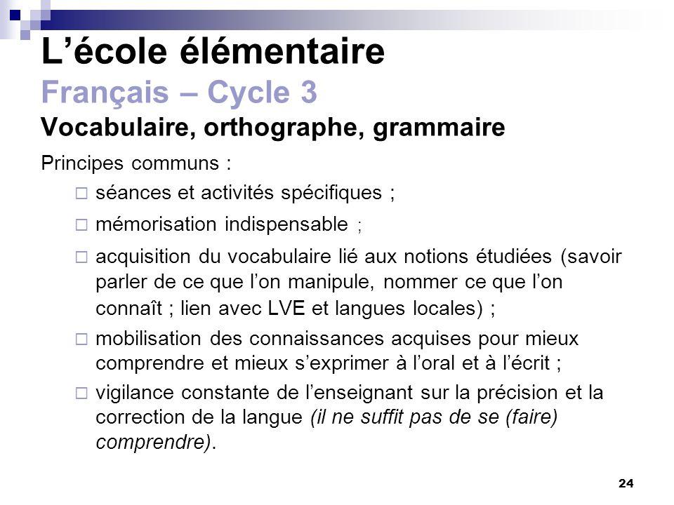 L'école élémentaire Français – Cycle 3 Vocabulaire, orthographe, grammaire