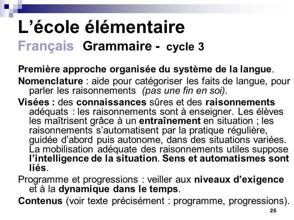 L'école élémentaire Français Grammaire - cycle 3