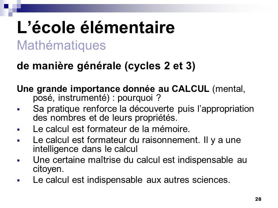 L'école élémentaire Mathématiques