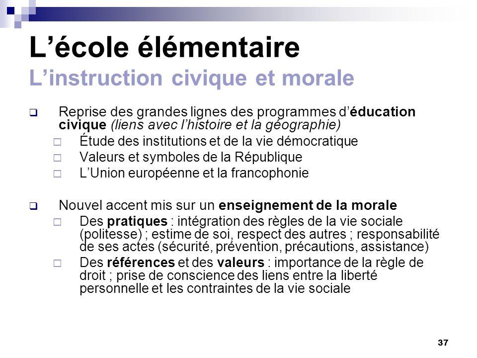 L'école élémentaire L'instruction civique et morale