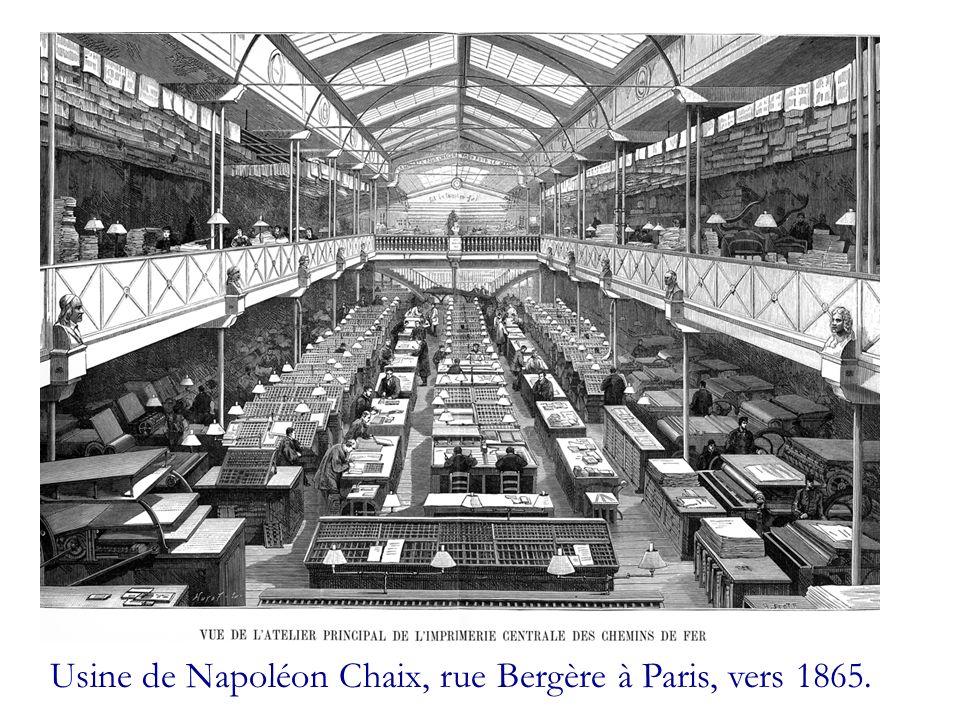 Usine de Napoléon Chaix, rue Bergère à Paris, vers 1865.