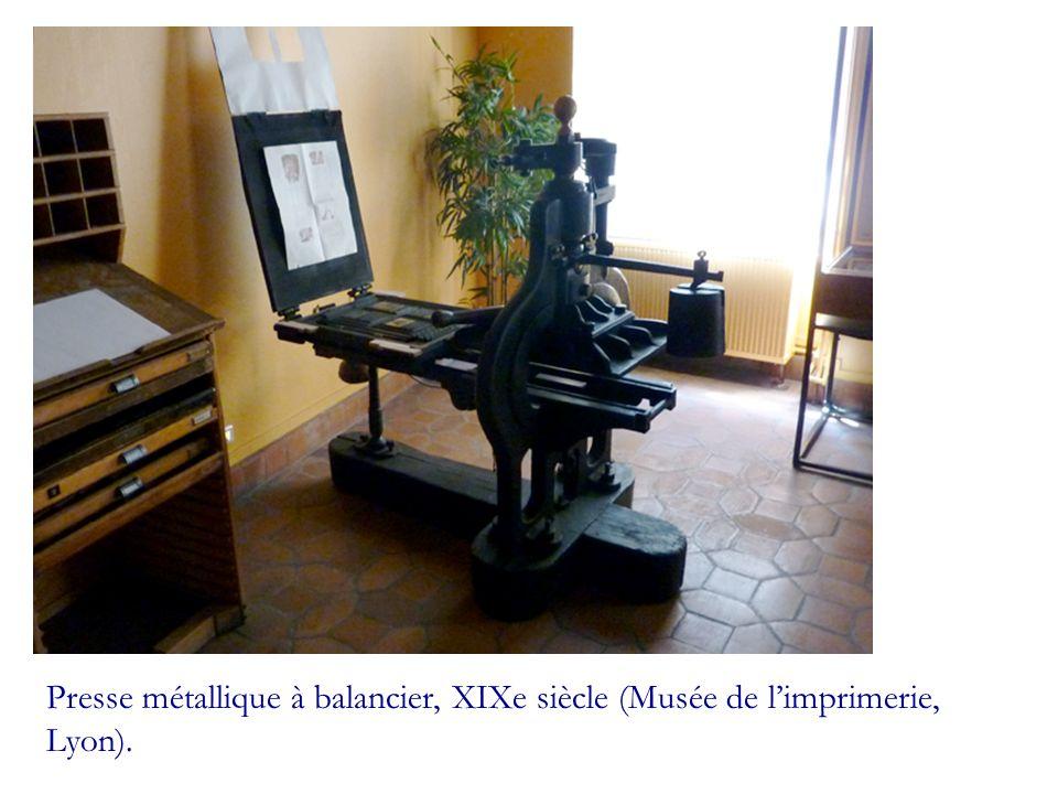 Presse métallique à balancier, XIXe siècle (Musée de l'imprimerie, Lyon).