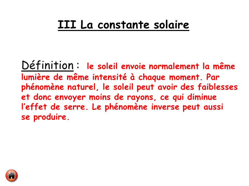 III La constante solaire