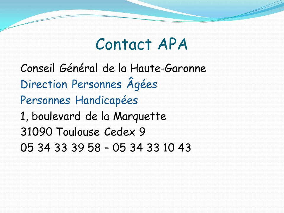 Contact APA