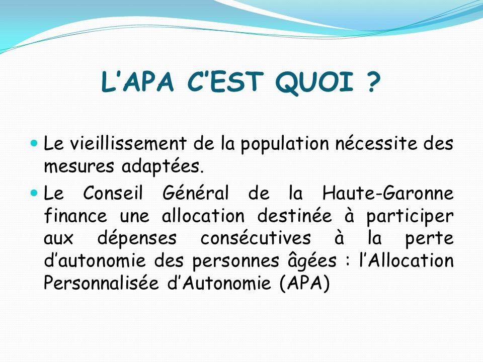 L'APA C'EST QUOI Le vieillissement de la population nécessite des mesures adaptées.