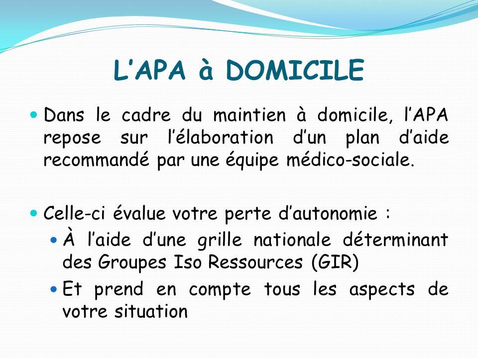 L'APA à DOMICILE Dans le cadre du maintien à domicile, l'APA repose sur l'élaboration d'un plan d'aide recommandé par une équipe médico-sociale.