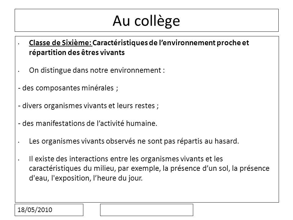 Au collège Classe de Sixième: Caractéristiques de l'environnement proche et répartition des êtres vivants.