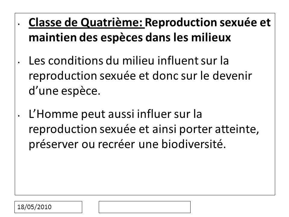 Classe de Quatrième: Reproduction sexuée et maintien des espèces dans les milieux