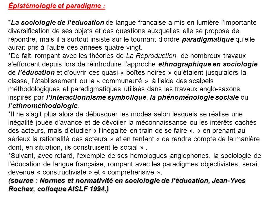 Épistémologie et paradigme :