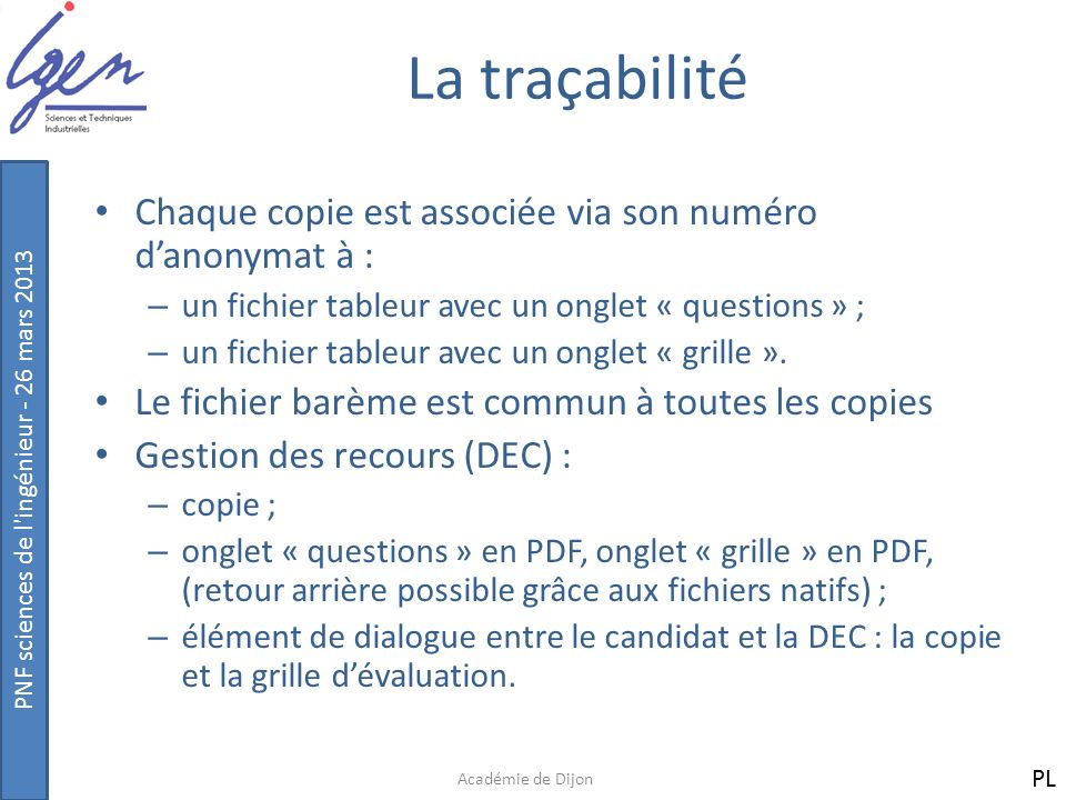 La traçabilité Chaque copie est associée via son numéro d'anonymat à :