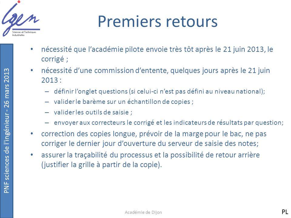 Premiers retours nécessité que l'académie pilote envoie très tôt après le 21 juin 2013, le corrigé ;