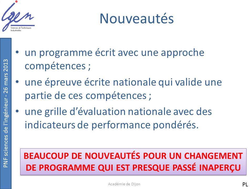Nouveautés un programme écrit avec une approche compétences ;