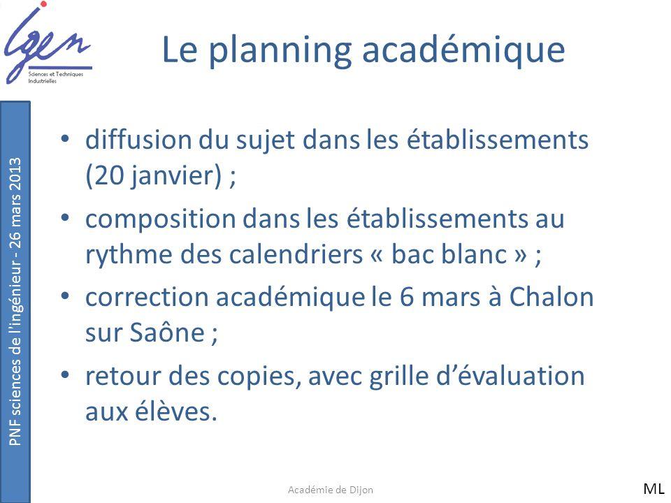 Le planning académique