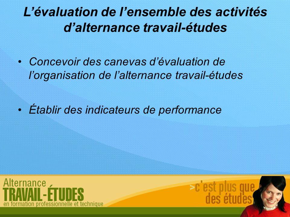 L'évaluation de l'ensemble des activités d'alternance travail-études