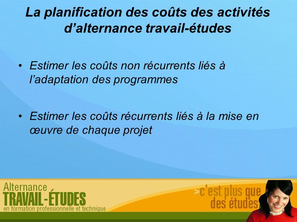La planification des coûts des activités d'alternance travail-études