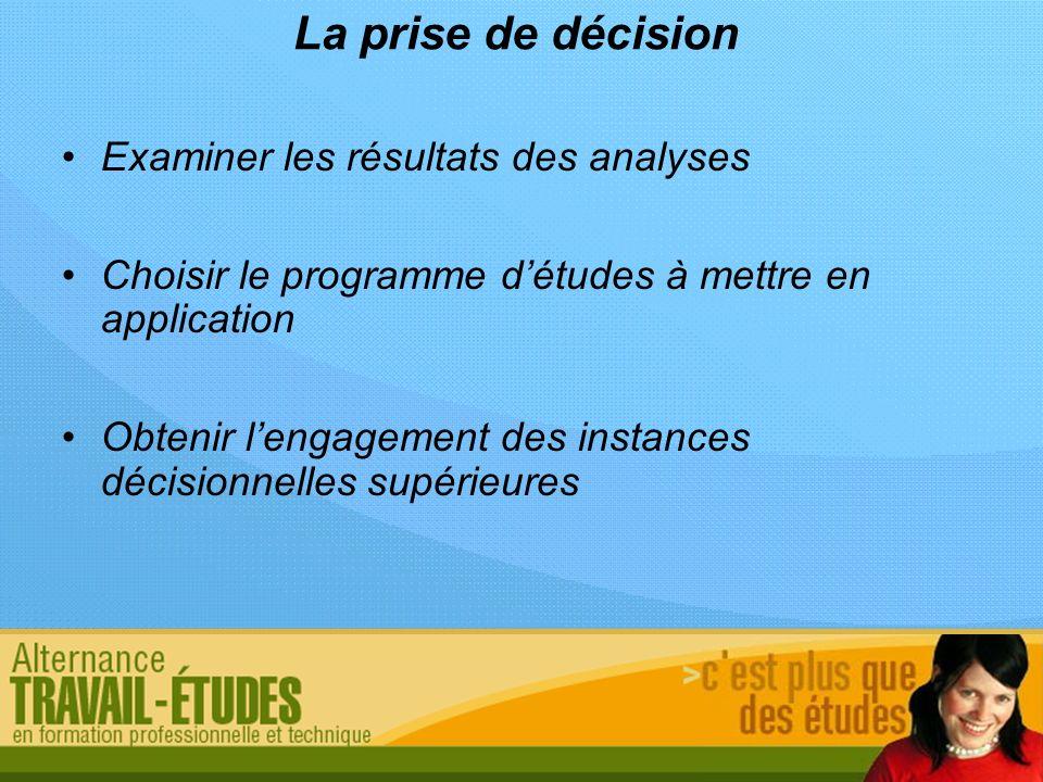La prise de décision Examiner les résultats des analyses