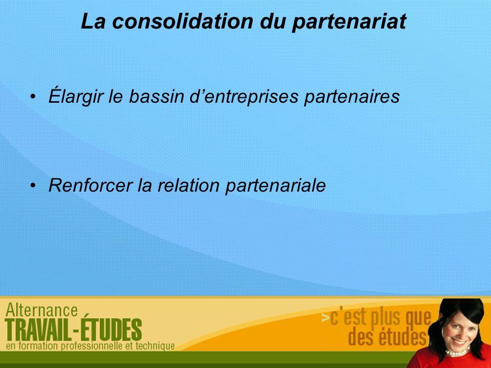 La consolidation du partenariat