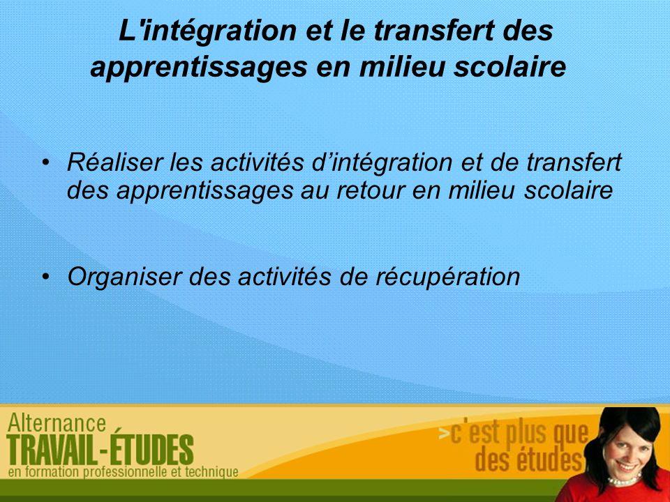 L intégration et le transfert des apprentissages en milieu scolaire