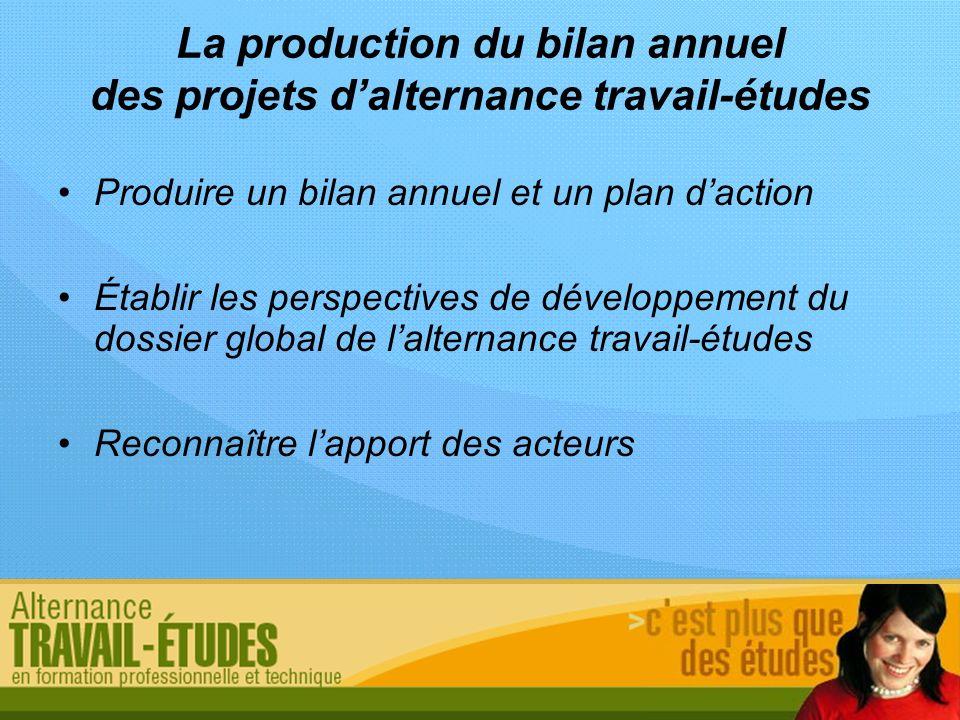 La production du bilan annuel des projets d'alternance travail-études