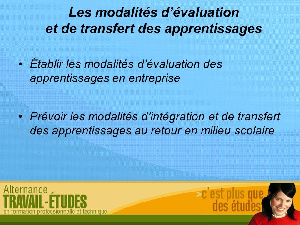 Les modalités d'évaluation et de transfert des apprentissages