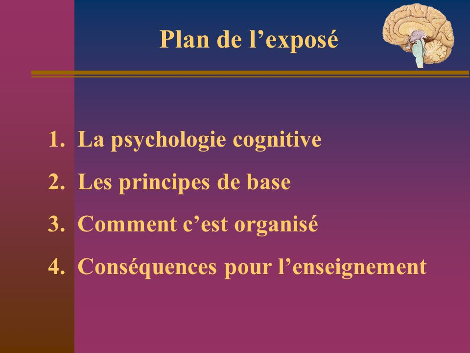 Plan de l'exposé 1. La psychologie cognitive 2. Les principes de base