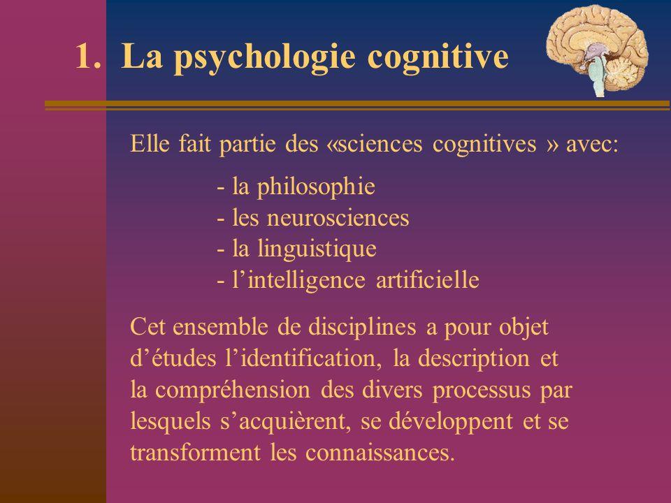 1. La psychologie cognitive